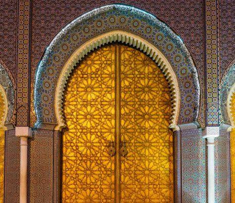 Puertas del Palacio Real en Fez, Marruecos