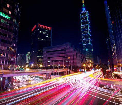 Vista nocturna de Taipei, Taiwan