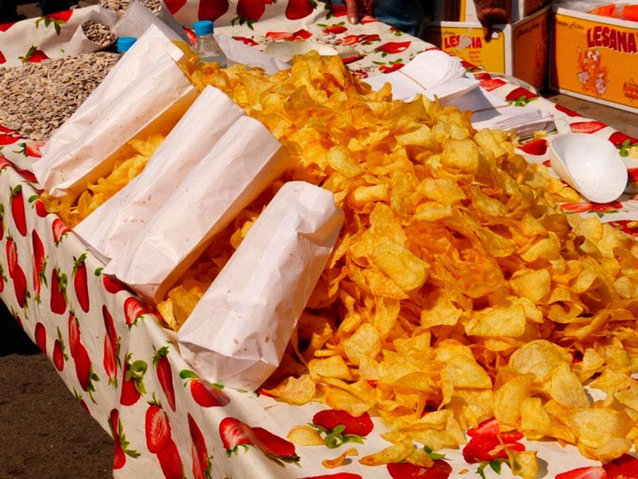 Puestos de comidas típicas en las ferias