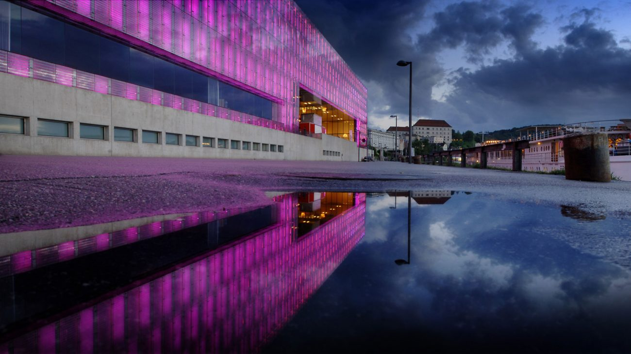 Museo Lentos, Linz. Vista nocturna