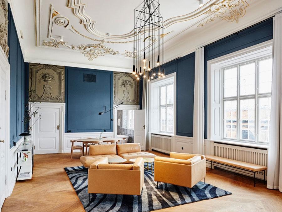 Interiores del hotel Nobis en Copenhaguen, Dinamarca