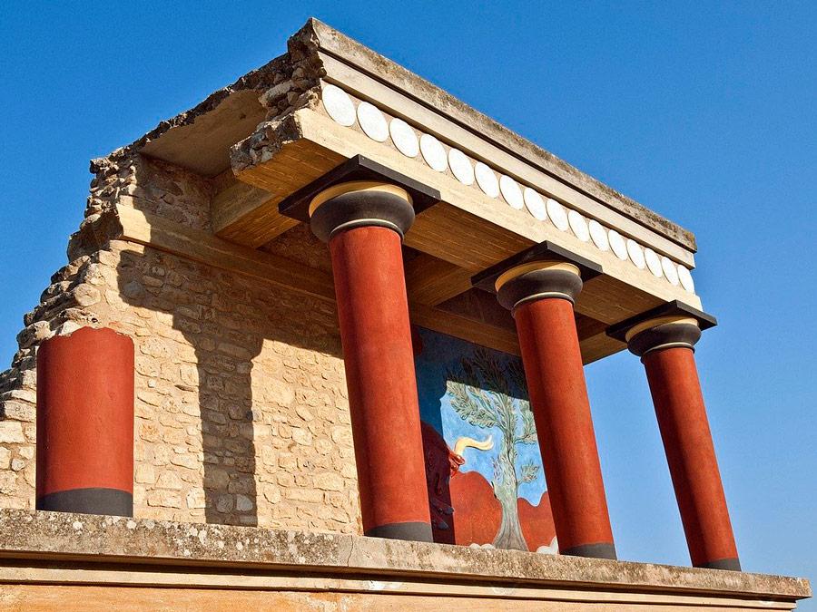 Foto: a vista mais famosa do Palácio de Knossos em Creta.