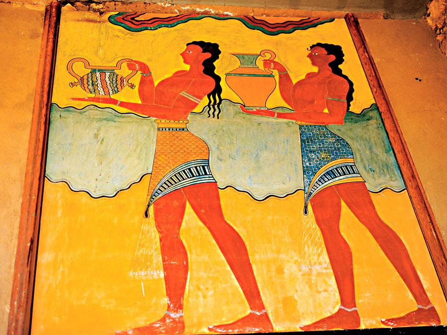 afrescos do Palaçio de Knossos.