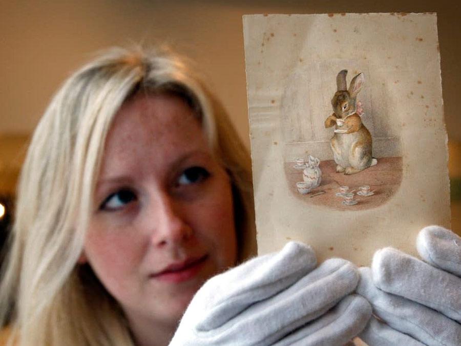 Dibujos originales de Beatrix Potter en la galeria.