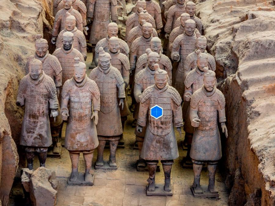 Guerreros de terracota de Xi'an en el Museo del Sitio del Mausoleo del Emperador Qinshihuang