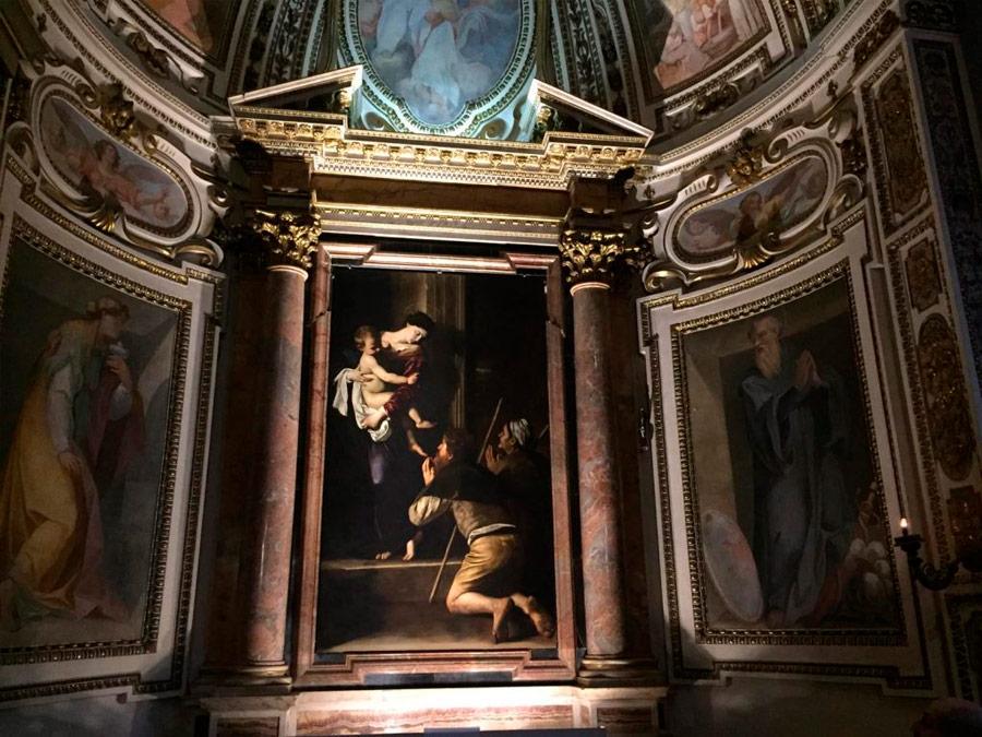 Madona di Loreto, de Caravaggio, en la Basílica de San Agustín